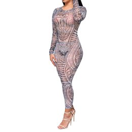 Wholesale Tattoo Keys - Wholesale- See Through Rompers Key Hole Long Sleeve Sexy Tribal Tattoo Digital Printed Jumpsuits Bodycon Fitness Full Length Bodysuits