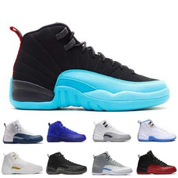 Wholesale gray taxi - New basketball shoes 12 man TAXI Playoff black white Gray Black Gym barons cherry RED Flu Game Sport Sneaker 8-13