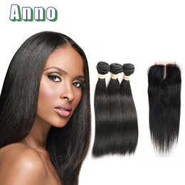 Wholesale Modern Hair Show - Anno Straight Human Hair With Closure Unprocessed 8a Brazilian Virgin Hair With Closure Modern Show Hair 3 Bundles With Closure
