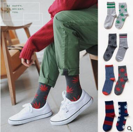 Wholesale Men Designer Sock Wholesale - Casual Men Leaf Socks Winter Striped Leaf Teens Soft Warm Cotton Funny Socks Fashion Designer Style Ankle Socks Korea Sock Top Quality