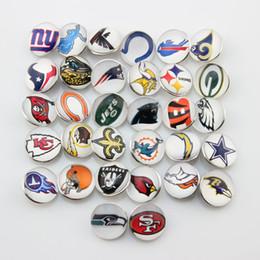 Botão americano on-line-32 Equipes de Futebol Americano Mixto 18mm Snap Button Jóias Charms para Ginger Snap Bracelet colar