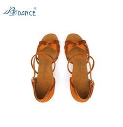 Wholesale Professional Dancing Shoes - Hot Sale BD 2324 Ladies Lain Dance Shoes Dark Tan Satin Soft Leather Sole Women Professional Dance Shoes High Heel Tango