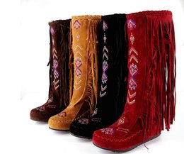 Wholesale Tall Canister Boots - Hot! The new big yards for women's shoes net yarn nubuck suede tassel boots show national wind tall canister boots