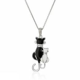 Bijou schmuck online-Großhandels-Art und Weise Frauen-Mädchen-Silber überzogene schwarze Katze Weiße Katze-hängende Kettenhalsketten-Schmucksache-Charme Bijou