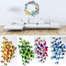 Wholesale Diy Fridge Magnets - Wholesale- 12Pcs lot 3D PVC Wall Stickers Fridge Magnet Butterflies DIY Wall Sticker Home Decor Kids Rooms Wall Decoration #85497