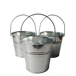 Frete grátis por atacado D13 * H12CM galvanizado potes de casamento festa flor festa de vaso rústico vasos de viveiro baldes prateados de