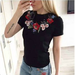 Wholesale Russian Embroidery - Russian Women Summer U Flowers Embroidery T-shirt Tops