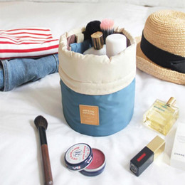 Wholesale Beverage Barrels - 6 Colors Barrel Shaped Travel Cosmetic Bag Nylon High Capacity Drawstring Elegant Drum Wash BagsBarrel Shaped Travel Cosmetic Bag