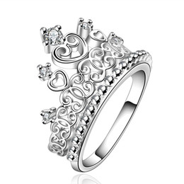Wholesale Special Wedding Jewelry - R629 Christmas lady special hot new high quality silver plated Crown wedding jewelry cute woman sparkling crystal Crowne ring