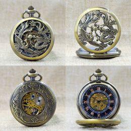 Wholesale Skeleton Dresses - Wholesale-Fashion Beautiful Phoenix Dragon Bronze Roman Numeral Mechanical Hand Wind Pocket Watch Skeleton Men Women Watch Chain+Gift Box