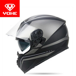 Wholesale Full Face Visors - 2017 summer New double lenses YOHE Full Face motorcycle helmet YH-967 full cover motorbike helmets made of ABS and PC lens visor