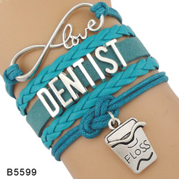 Wholesale Dentist Woman - (10 Pieces Lot)Infinity Love Dentist Dental Hygienist Medical Assistant Tooth Charm Leather Wrap Cuff Bracelets For Women Men Girl Jewelry