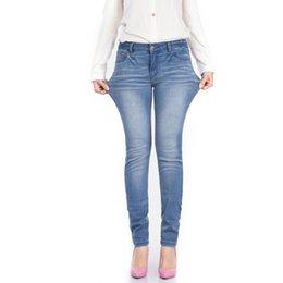 Wholesale Hot Womens Feet - Wholesale- Hot Womens Fashion Feet Jeans Ladies Long Stretchy Jeans Brand Pure Cotton Stripe Jeans For Women Light Blue Plus Big Size 38 40