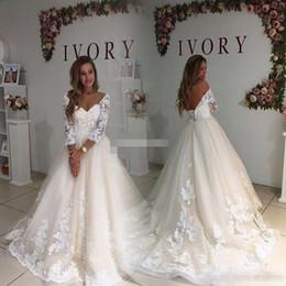 Wholesale Sexy Open Back Maxi Dresses - Modest Plus Size Wedding Dresses With Illusion Sleeve 2017 Vintage Open Back Maxi Big Sizes Weddings Gowns Lace Women Bridal Dress Appliqued