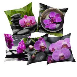 Wholesale Green Orchids Wholesale - Wholesale- European Style Orchids and stone Home Decorative Throw Pillow Case Vintage Cotton Linen Square Cute pillowcase