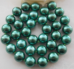 Wholesale Rose Gold Round Beads - AAA 10mm Green South Sea Shell Pearl Round Beads Necklace 18''