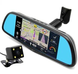 Wholesale Rearview Mirror Gps Android - 7 inch Special Car GPS Navigation Mirror Bluetooth Android 16GB Car DVR Rearview Mirror Monitor navigators automobile