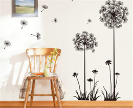 Wholesale Dandelions Wall Stickers - pvc fashion Creative DIY Dandelion wall sticker Carved bedroom living room Removable Decorating art Sticker Decor Korean 2017 Wholesale