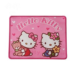 Wholesale Cartoon Rubber Mouse Pad - Creative Cute Cartoon Hello Kitty Rubber+Fabric Single Side Whipstitch Mouse Pad Skidproof Mouse Mat For Work Games