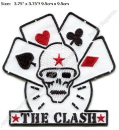 Canada THE CLASH cartes de crâne Iron On Patches londres appelant un badge brodé Musique Anglais Collection de groupes de rock punk britannique Anthony party favour supplier english patch Offre