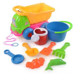 Wholesale Toy Sand Bucket Wholesale - Wholesale- 9Pcs Sand Sandbeach Kids Beach Toys Castle Bucket Spade Shovel Rake Water Tools Toys for Baby Developmental toys Bath Toy