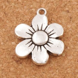 Wholesale Flag Beads - 6-petal Flower Spacer Charm Beads 100pcs lot Antique Silver Pendants Alloy Handmade Jewelry DIY L338 17x21.6mm