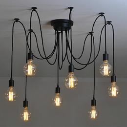 Wholesale Vintage Art Deco Light Fixtures - Vintage Indoor Spider Pendant lights 6 8 10 heads Multiple Adjustable Retro Pendant Lights Classic Decorative Fixture Lighting chandelier