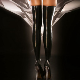 Wholesale Club Dance Wear - Hot Sexy Black Faux Leather Stockings Back Zipper Women Stocking Trendy Thigh High Socks Novelty Lingerie Club Dance Wear