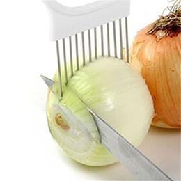 2019 conjunto de cortador de vegetais plásticos Titular Fatiador De Cebola Vegetal De Batata Cortador Slicer Gadget Garfo De Aço Inoxidável