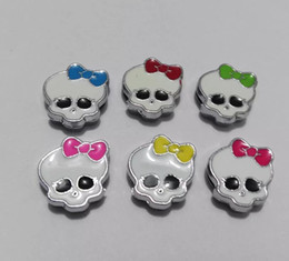 Wholesale Dog Collars 8mm - Halloween mix color monster skull 8mm Slide Charms Fit Pet Dog Cat Tag Collar Wristband DIY accessory