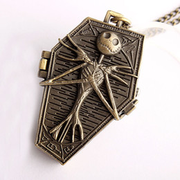 Wholesale Necklace Fobs - Wholesale mens women Bronze The Nightmare Before Christmas necklace chain pocket watch Coffin ghost FOB quartz watches