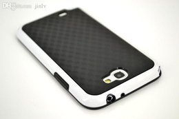 Wholesale Galaxy Note2 Phone Cases - Wholesale-Note2 Black 3D Carbon Fiber Matte Hybrid TPU+PC gel Double Layers Case For Samsung Galaxy Note II 2 N7100 Mobile phone Cover