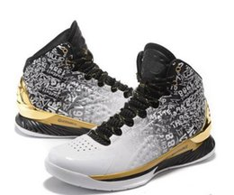 Wholesale Cushion Packing Shipping - [With Box] Curry Back To Back Pack Curry 1 MVP Basketball Shoes Men Stephen Curry Shoes White Gold Currys Shoes 7-12 Free shipping 40-46