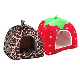 Wholesale House Dog Kennels - Foldable Soft Winter Leopard Dog Bed Strawberry Cave Dog House Cute Kennel Nest Dog Fleece Cat Bed House