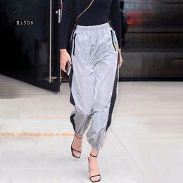 Silberne hose capris online-Frauen Neue Mode Patchwork Elastische Taille Lose Straße Ankle Banded Hosen Silber Sportbekleidung Typ Mittlere Taille S-M-L