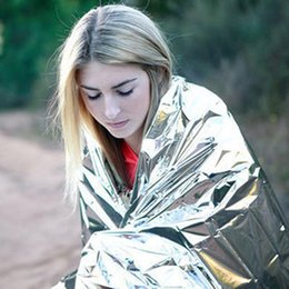 Wholesale Thermal Pet Blanket - Emergency Survival Blanket Silver PET Outdoor Insulation Blanket Rescue Foil Thermal First Aid for Marathons Camping Natural Disaster