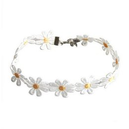 Wholesale Flower Chain Tattoos - Wholesale-Yellow & White Daisy Flower Choker Chain Necklace Bracelet Headband Boho Beautiful Tattoo Choker Necklace