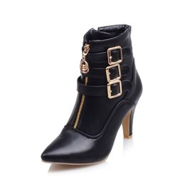 Wholesale Spike Heel Wedges - Wholesale- Brand New Hot Sales Women Nude Ankle Boots Red Black Buckle Ladies Riding Spike Shoes High Heels EMB08 Plus Big size 32 45 11