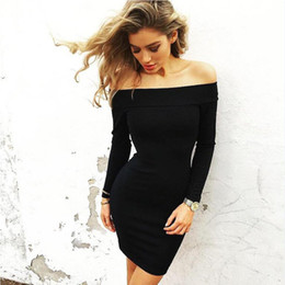 Wholesale Wholesale Plus Size Bodycon - Wholesale- Long Sleeve Autumn Winter Pencil Dress Women Sexy Off Shoulder Bodycon Bandage Party Dresses Robe Vestidos Plus Size