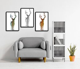 Wholesale Pine Panel - 3 Panel Silhouette Of Deer Family With Pine Forest Canvas Modern Art Print Painting Wall Picture for Home Decoration Home Decor