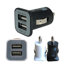 Wholesale Tablet Chargers For Sale Wholesale - Wholesale- Top quality Dual 2 Port USB Car Charger USB 5V 3.1A output Mini Car Charger Adapter for phones tablet PC hot sale free shipping