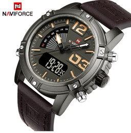 Wholesale Analog Alarm Clocks - NAVIFORCE Men's Fashion Sport Watches Men Quartz Analog LED Clock Outdoor Running Seconds Man Leather Military Waterproof Watch