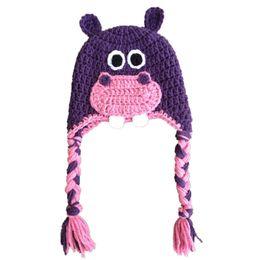 Crochet del cappello viola del bambino online-Lovely Pink Pink Hippo Hat, Handmade Knit Crochet Baby Boy Girl Novità Animal Hat, Toddler Winter Cap, Photography Photography Puntelli
