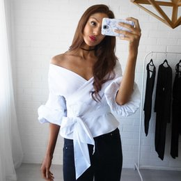 Wholesale Ladies Formal White Tops - 2017 Summer Puff Sleeve White Blouse with Belt Women Sexy V Neck Woman Shirt Elegant Plaid Tops Plaid Formal Clothing for Office lady