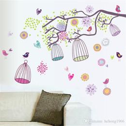 Calcomanías ramas online-Pegatinas de pared Branch Cage Pastoral Style Scenery Wallpaper Mural Art PVC Calcomanía Home Decor Water Proof 3 25hy J R