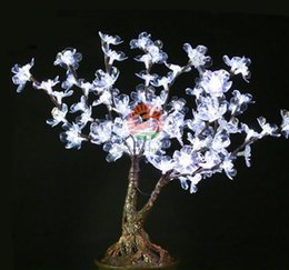 Wholesale Indoor Potted Trees - 0.6m 2ft Height LED Lighted Artificial Trees Wedding Christmas Decorations Cherry Blossom 107pcs LEDs High Simulation Potted Landscape Tree