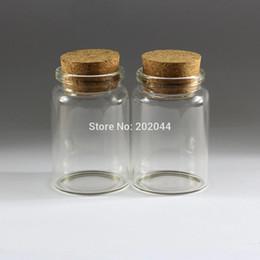 Botellas de corcho decorativas online-Al por mayor- 1pcs 80 ml 47 * 70 mm 1.85 * 2.75 en frascos de botellas de vidrio pequeño con tapón de corcho decorativos Corked minúscula Mini Wising botella de vidrio