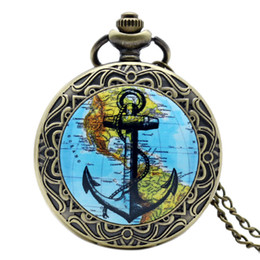 Wholesale World Map High Quality - Wholesale-New Fashion Retro The World Map Charm Pendant Watch Pocket Watch High Quality Bronze Quartz Watches New Year Gift P1420