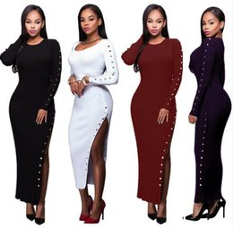 Wholesale Double Long Skirt - Double row button long skirt article pit cloth nightclub sexy long-sleeved cultivate one's morality dress skirt long skirt EMS GIFT
