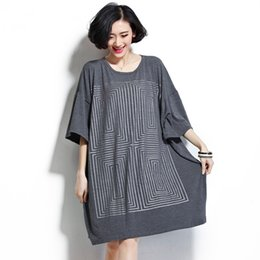 Wholesale Loose Fitting Tops For Women - Plus Size Women Tops and Shirts Casual Geometric Maze Short Sleeve Loose Cotton Shirts for Women Fit 2XL~5XL